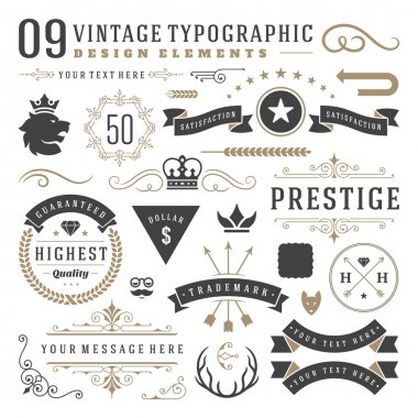 Vintage typographic design elements