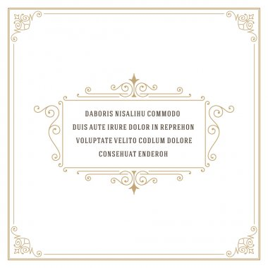 Vintage frame with ornament template