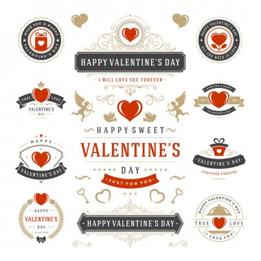 Valentines Day Labels and Cards Set, Heart Icons Symbols, Greetings Cards, Silhouettes, Retro Typography Vector Design Elements. Valentines day cards, Valentines Badges, Valentines Day Vector Labels clip art vector