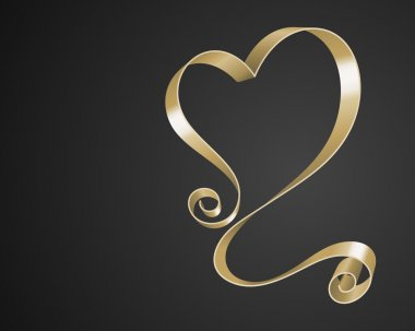 Valentines Day Greeting Card or Poster Gold Heart from Ribbon Vector Background