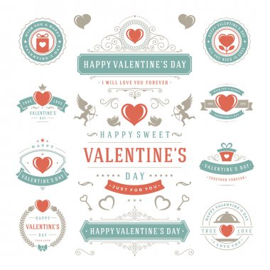 Valentines Day Labels and Cards Set, Heart Icons Symbols, Greetings Cards, Silhouettes