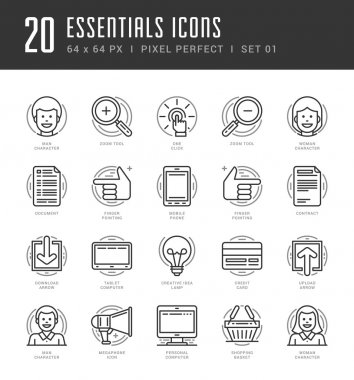 Flat line icons set. Trendy Modern thin linear stroke vector icons Essentials Objects