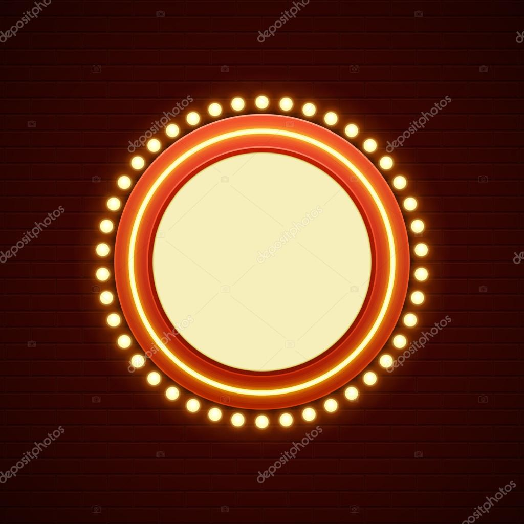 Cinema Signage Light Bulbs Frame And Neon Lamps On Brick Wall