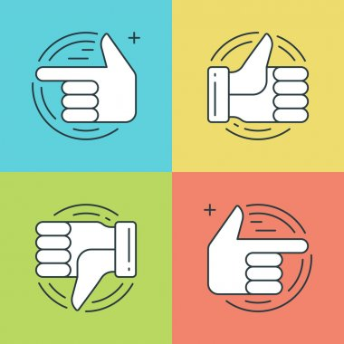 Flat line icons set. Thin linear stroke vector Hands, Thumbs up or like icon, Finger pointing social media symbols.