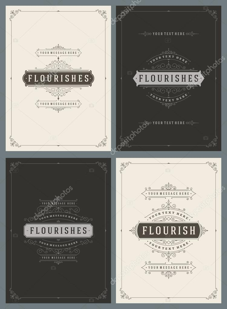Vintage Ornament Greeting Cards Vector Templates Set