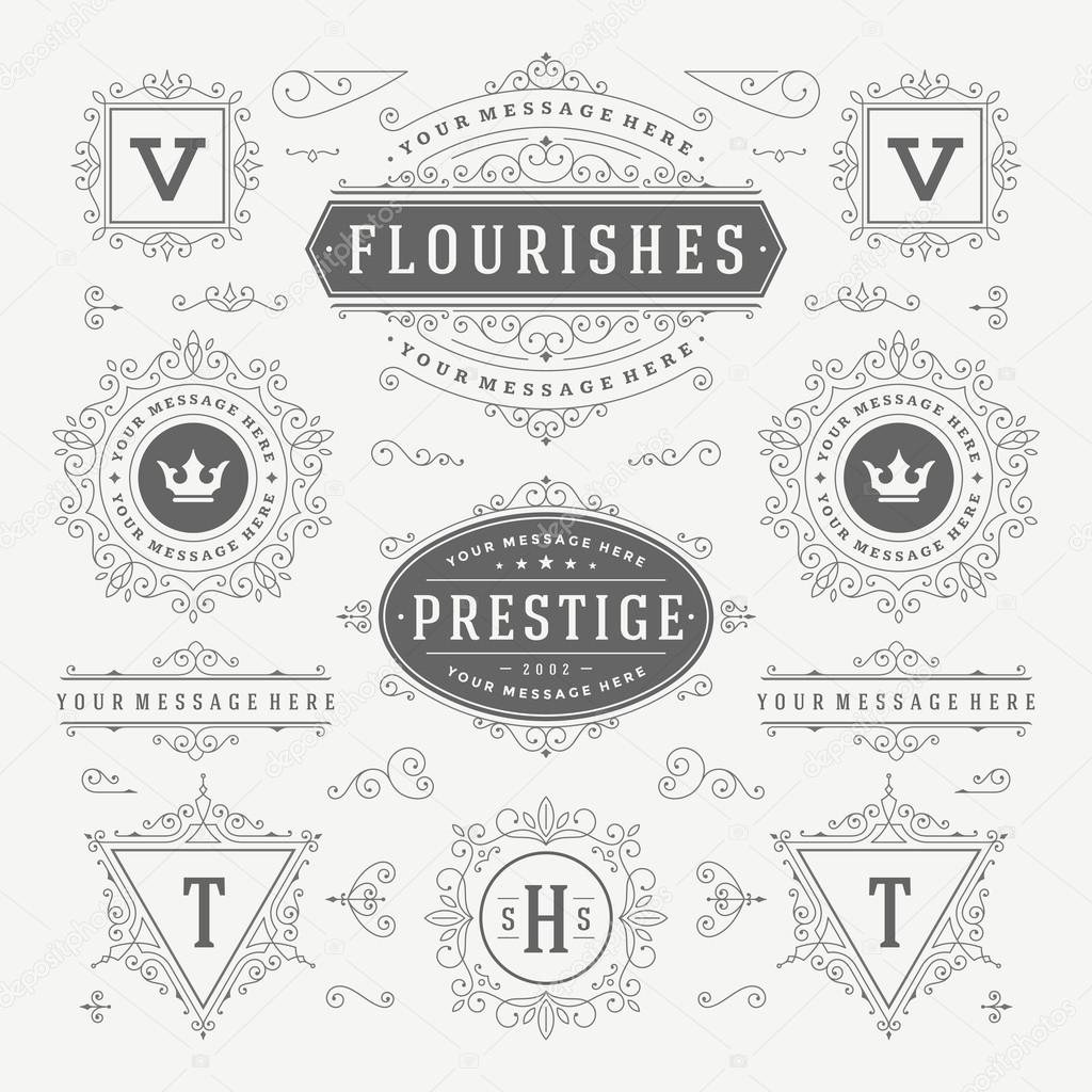 Vintage Vector Ornaments Decorations Design Elements. Flourishes calligraphic combinations Retro Logo