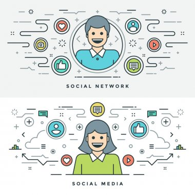 Flat line Social Media and Network Concept Vector illustration