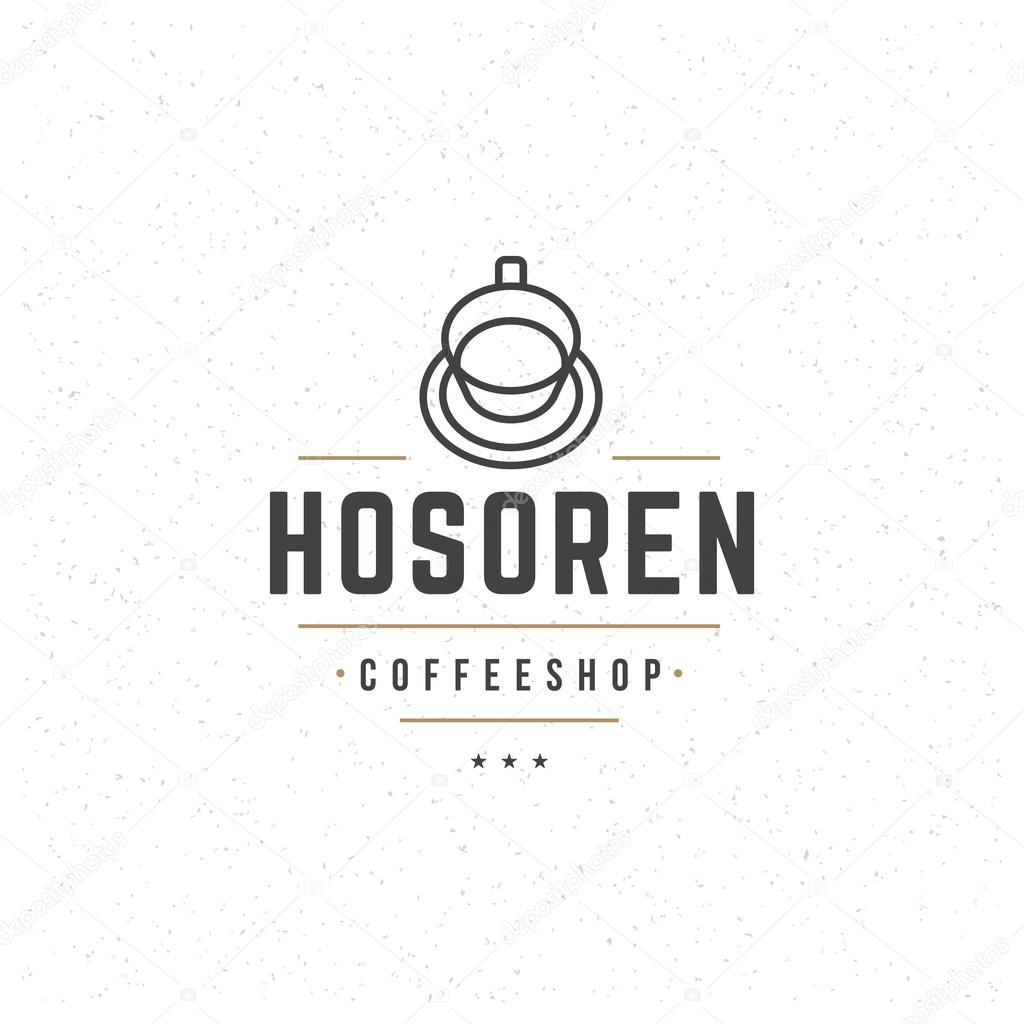 Template For Logo | Coffee Logo Template Vector Design Element Vintage Style For