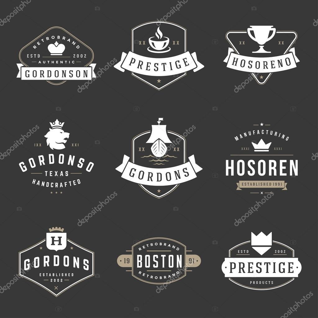 vintage logos design templates set vector design elements logo elements vetores de stock. Black Bedroom Furniture Sets. Home Design Ideas