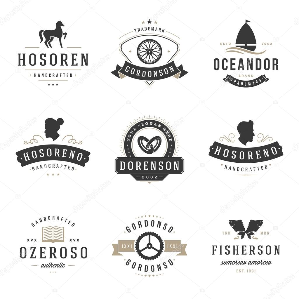 Vintage Logos Design Templates Set Vector Design Elements Stock Vector C Provectors 97869736