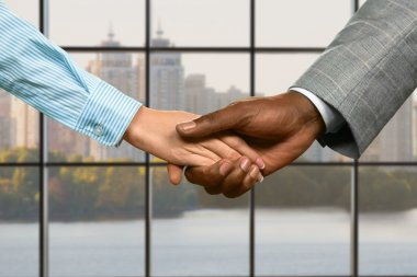 Business couples handshake at midday.