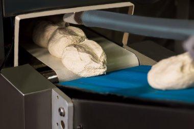 Dough on the conveyor.