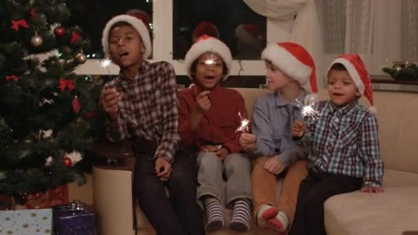 Kids singing Christmas song. — Stock Video © Denisfilm #104893404