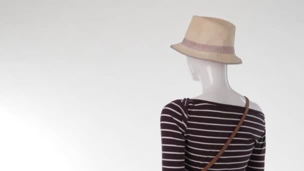 Mannequin with bicolor purse turning.