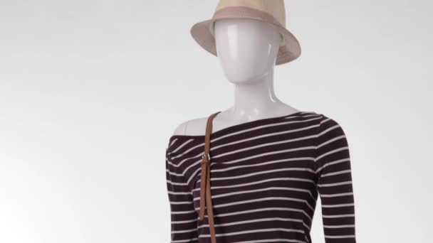 Female mannequin wearing striped top.