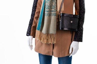 Handbag and scarf with fringe.