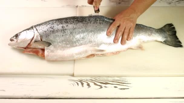 Kézzel kés vágási hal.