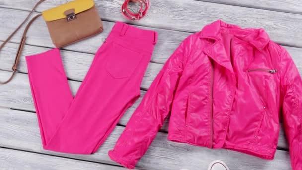 Pink jacket and pants.