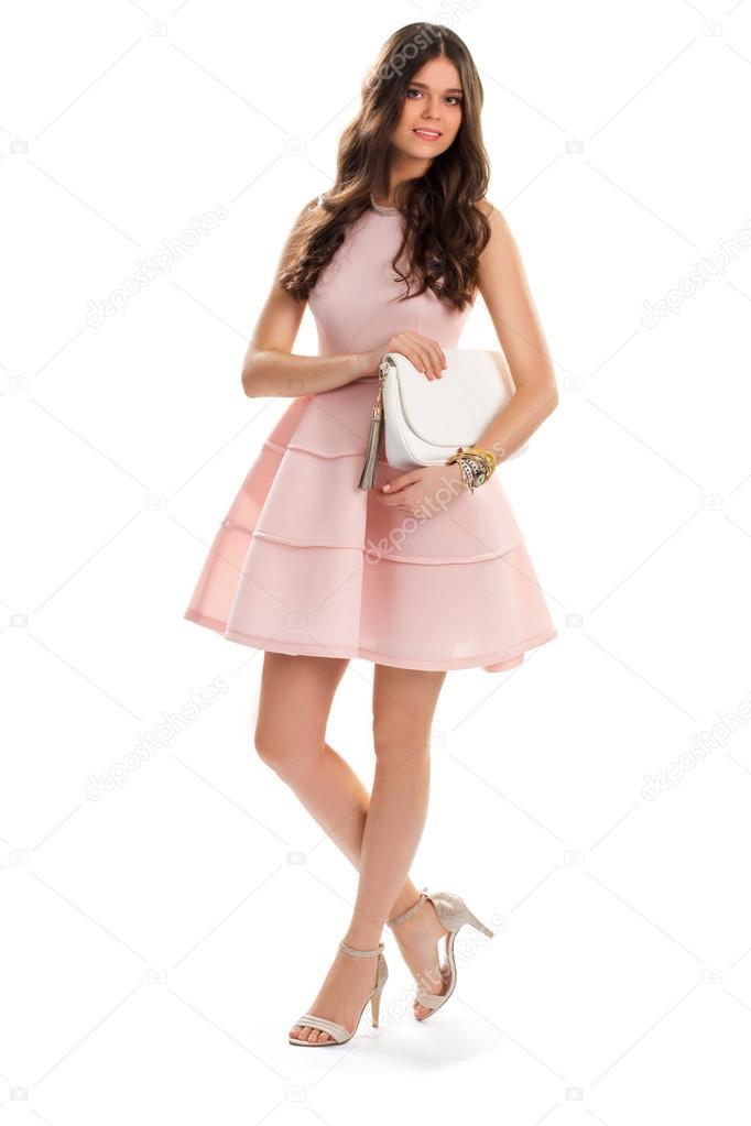 873b9f63c921 Mädchen in kurzen Lachs Kleid — Stockfoto © Denisfilm  116430158