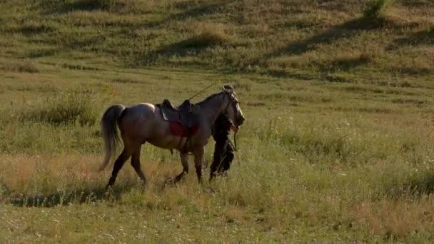Man leads a horse.
