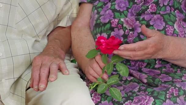 Old hands of elderly people.