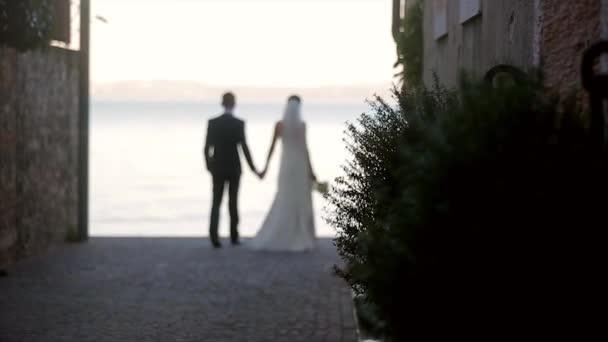 Nevěsta a ženich jít drží za ruce