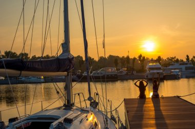 Beautiful sunset at the yacht club.
