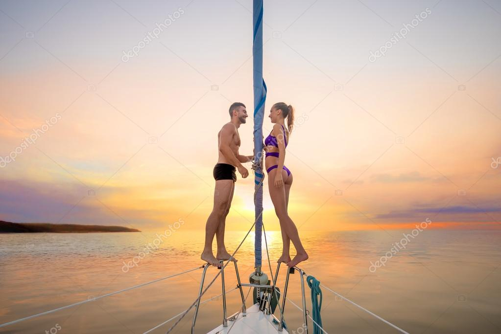 Guy and  girl on the yacht.