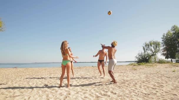 Rekreáři hrající volejbal na pláži.