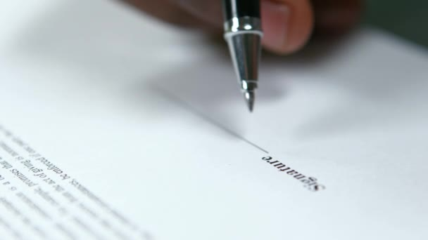 Signature of the contract.