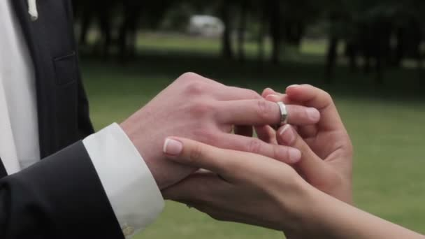 Bride putting wedding ring on grooms finger.