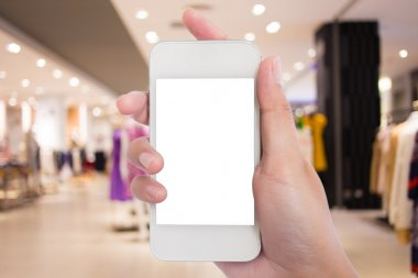 Photo blank. Women hand holding blank mobile smart phone in the