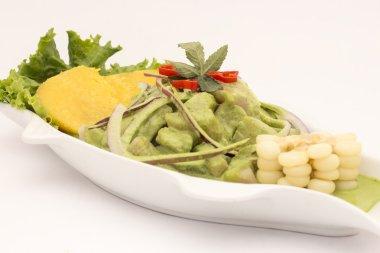 Peru Dish: Cebiche (ceviche) en Crema Andina. Made with basil, coriander, fresh  fish, lemon  juice, onion, sweet potatoe (camote), corn, aji limo (chilly).