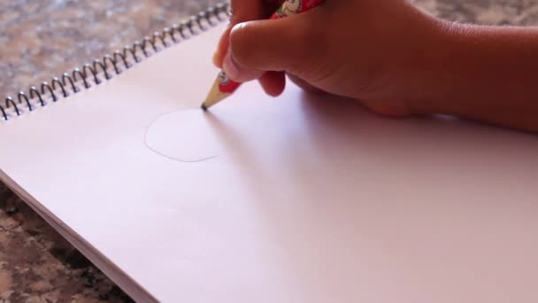 The hand of a kid hand drawing a happy face on a plain white paper.  full HD 1920x1080