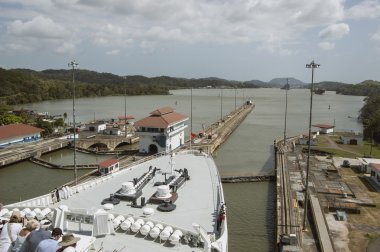 Cruise ship bow entering the gatun locks gateways on Panama Canal. Set of locks situated on the Atlantic entrance of the Panama Canal.
