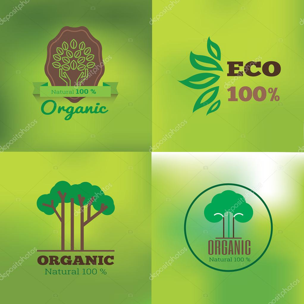 Organic food labels and elements, set for food and drink, restaurant and organic products vector illustration.