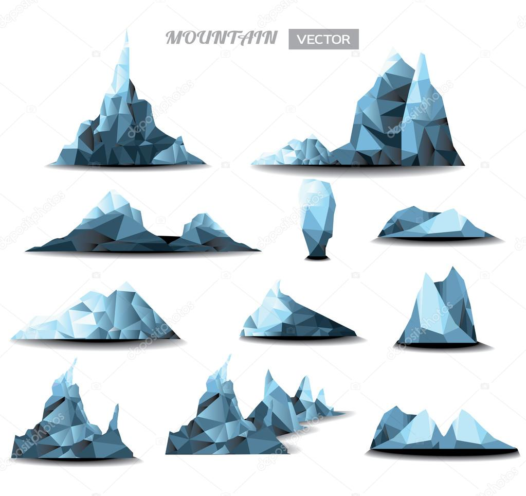 Mountain polygonal set background. vector illustration