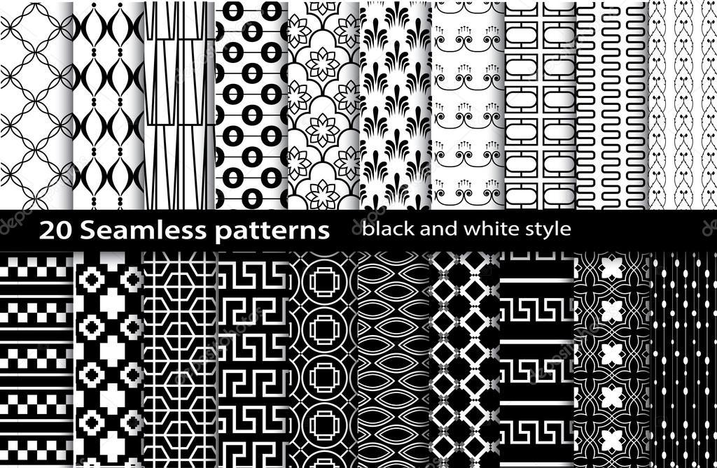 20 seamless pattern black and white