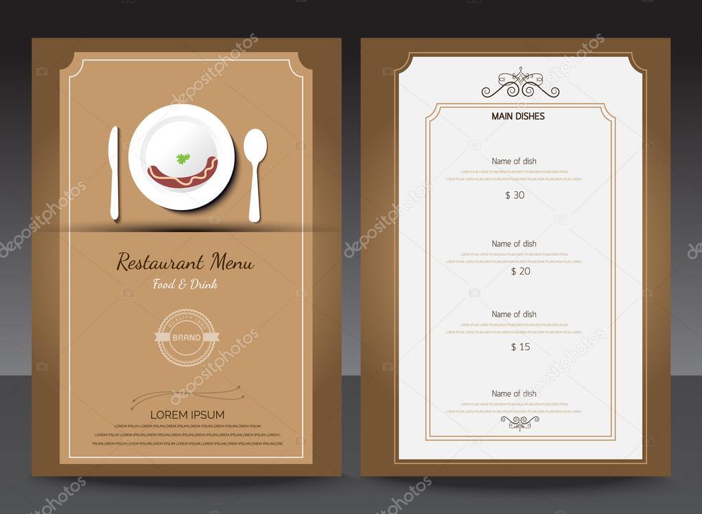 Restaurante o cafetería menú vector diseño plantilla estilo vintage ...