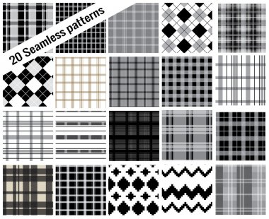 Big set seamless patterns, plaid style , pattern swatches included