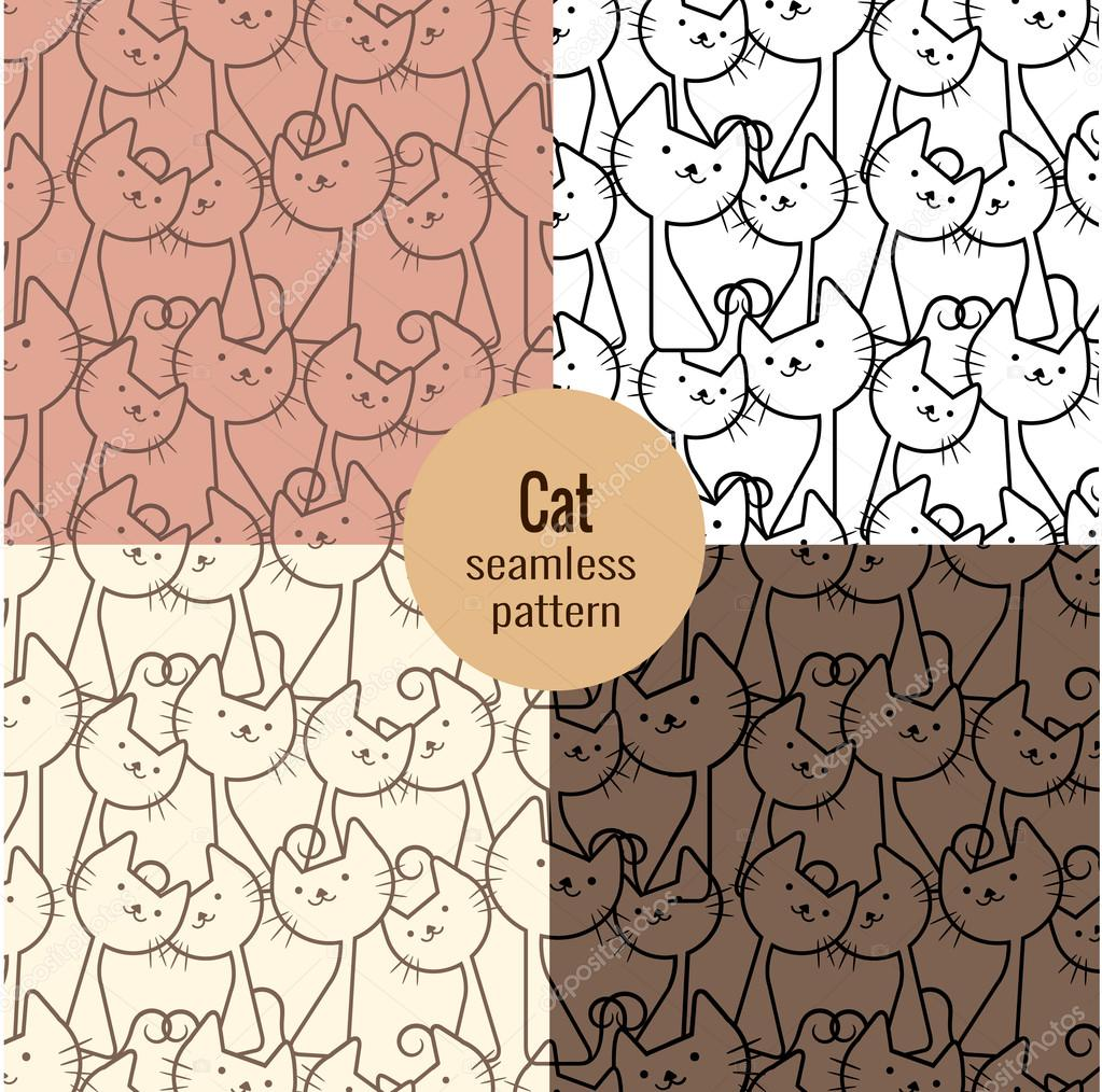 cat seamless patterns set,pattern swatches included for illustrator user, pattern swatches included in file, for your convenient use.