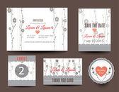Sada karet svatba. Svatební oznámení, poděkování, uložení