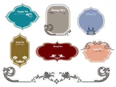 Set of ornate vector frames and ornaments with sample text, thai