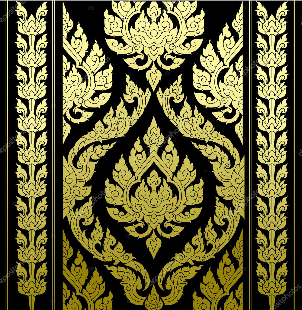 border thai pattern with thai pattern background. illustration isolated on black background