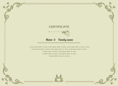 Thai elegant art frame, certificate design template, thai pattern