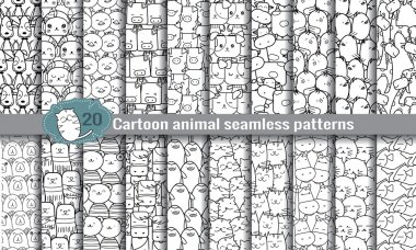 cartoon animal seamless patterns
