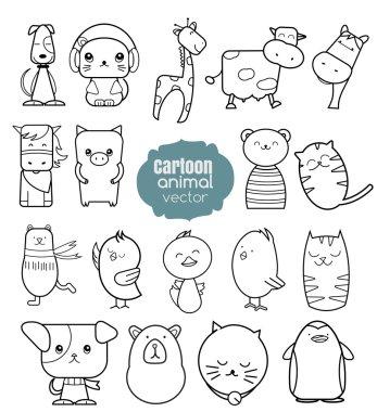 Cartoon animal icons set. vector illustration