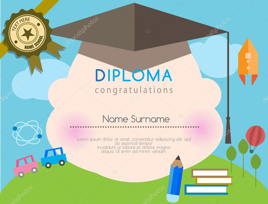 Kids diploma preschool certificate elementary school design template kids diploma preschool certificate elementary school design template background vector illustrator stock vector yadclub Images