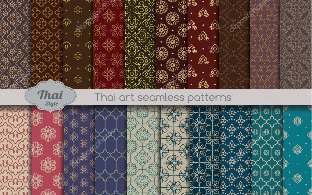 vector damask seamless pattern background, thai style