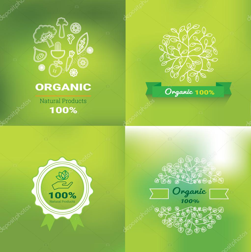 Organic food labels and elements, set for food and drink